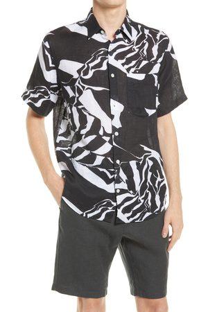 NN.07 Men's Men's Errico Slim Fit Print Short Sleeve Linen Button-Up Shirt