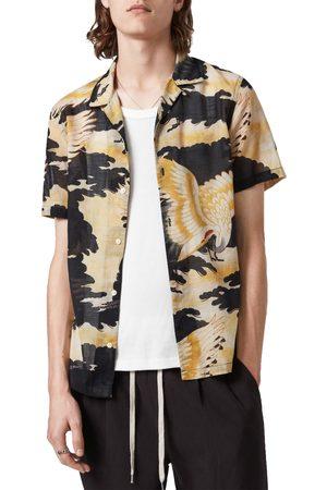 AllSaints Men's Miyako Short Sleeve Button-Up Camp Shirt
