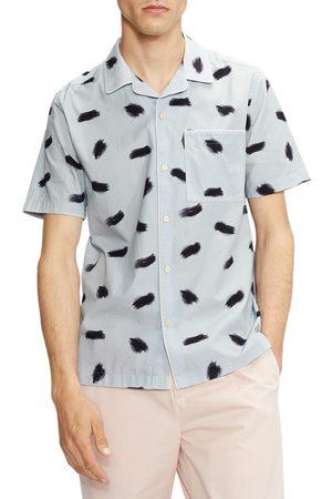 Ted Baker Men's Sourdo Trim Fit Brushstroke Short Sleeve Button-Up Camp Shirt