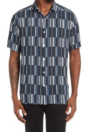Topman Men's Stripe Short Sleeve Button-Up Shirt