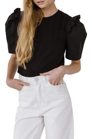 English Factory Women's Mini Ruffle Puff Sleeve T-Shirt