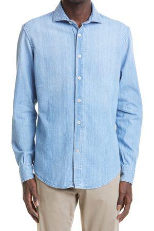 Eleventy Men's Distressed Denim Button-Up Shirt