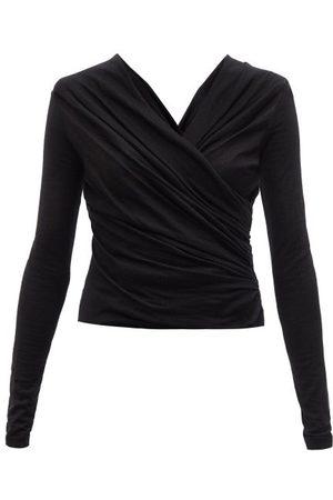 Giambattista Valli Gathered Cashmere-blend Jersey Wrap Top - Womens