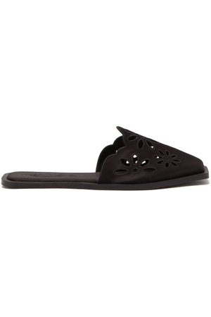 Carlotha Ray Floral-embroidered Satin Slippers - Womens