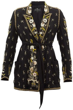 Etro Women Blazers - Stockton Single-breasted Embroidered Silk Jacket - Womens - Print