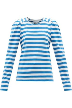Ganni Women Long Sleeve - Pleated Striped Organic-cotton Jersey T-shirt - Womens