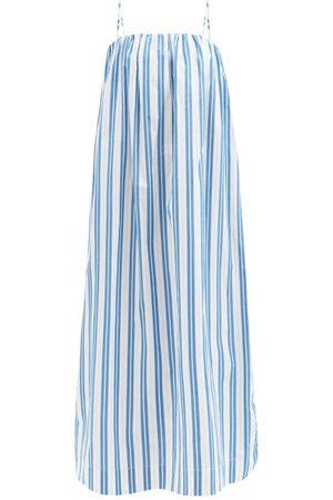 Ganni Women Midi Dresses - Square-neck Striped Organic-cotton Midi Dress - Womens