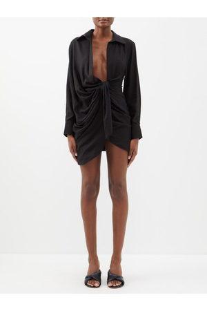 Jacquemus Bahia Knotted Twill Mini Shirt Dress - Womens