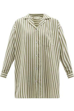 General Sleep Striped Organic-cotton Poplin Pyjama Shirt - Womens - Khaki Stripe