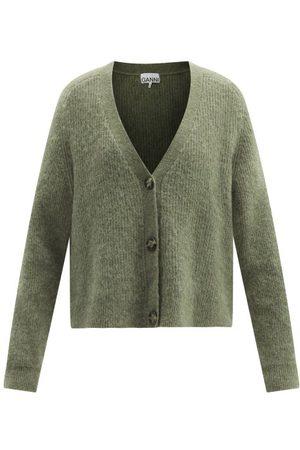 Ganni Women Cardigans - V-neck Wool-blend Cardigan - Womens - Khaki