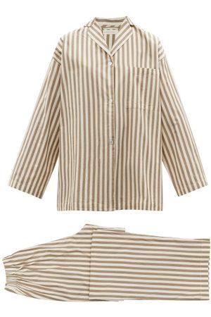 General Sleep Winona Striped Organic-cotton Pyjamas - Womens - Khaki Stripe