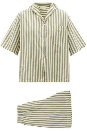 General Sleep Camilla Striped Organic-cotton Pyjamas - Womens - Khaki Stripe