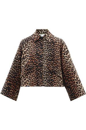 Ganni Leopard-print Linen-blend Hopsack Jacket - Womens - Leopard