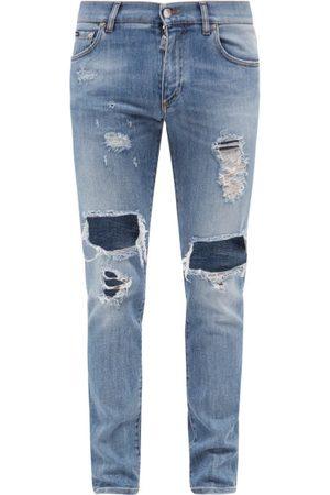 Dolce & Gabbana Distressed Slim-leg Jeans - Mens - Light