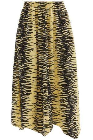 Ganni Elasticated-waist Zebra-print Satin Midi Skirt - Womens