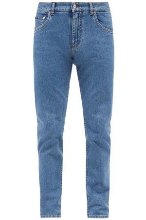 Dolce & Gabbana Logo-plaque Slim-fit Jeans - Mens - Light