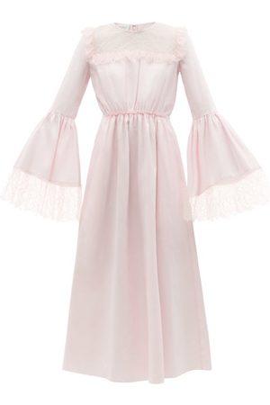 Giambattista Valli Women Midi Dresses - Chantilly Lace-trim Cotton-poplin Midi Dress - Womens - Light