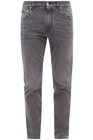Dolce & Gabbana Logo-plaque Slim-fit Jeans - Mens - Grey
