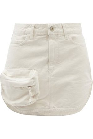 The Attico Zip-pocket Cotton-canvas Mini Skirt - Womens - Ivory