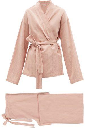General Sleep Wrap Belted Organic Cotton-blend Pyjamas - Womens - Light