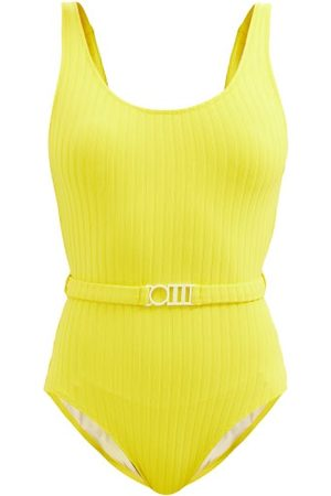 Solid The Anne-marie Belted Ribbed Swimsuit - Womens