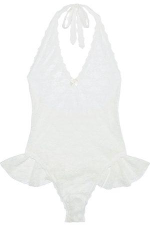 Hanky Panky Woman Peekaboo Ruffled Stretch-lace Halterneck Thong Bodysuit Off- Size L