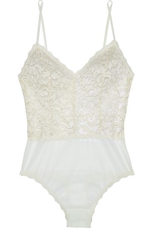 Hanky Panky Woman Golden Allure Metallic Corded Lace And Stretch-mesh Thong Bodysuit Ivory Size L