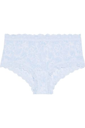 Hanky Panky Woman Cross-dyed Scalloped Stretch-lace Mid-rise Briefs Sky Size L