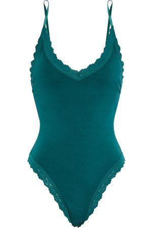Hanky Panky Women Lingerie Bodies - Woman Lace-trimmed Organic Stretch Supima Cotton-jersey Thong Bodysuit Emerald Size L