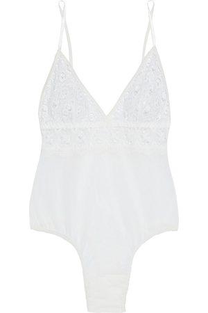 Hanky Panky Women Lingerie Bodies - Woman Stretch-lace And Mesh Thong Bodysuit Size L
