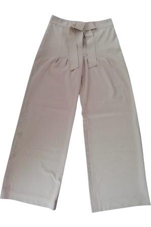 ELIE TAHARI Women Pants - Ecru Viscose Trousers