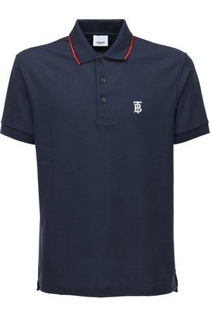 Burberry Tb Logo & Icon Stripe Cotton Piqué Polo