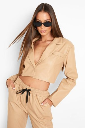 Boohoo Women Blazers - Womens Leather Look Cropped Blazer - - 4
