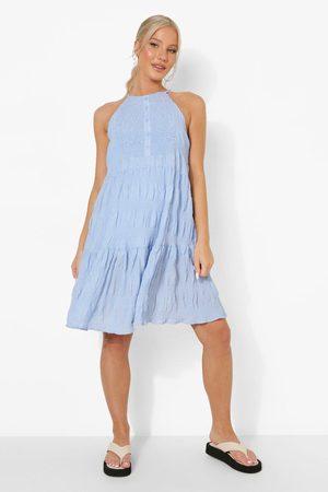 Boohoo Womens Maternity Sleeveless Crinkle Smock Dress - - 4