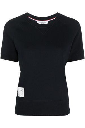 Thom Browne Women Sports Hoodies - Logo patch short sleeve sweatshirt top