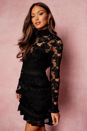 Boohoo Women Party Dresses - Womens Lace High Neck Long Sleeve Tiered Mini Dress - - 2