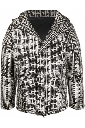 Balmain Men Puffer Jackets - Monogram-print padded jacket