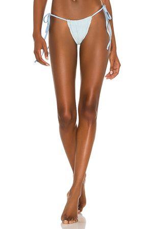 Frankies Bikinis Tia Terry Jacquard Bikini Bottom in Baby Blue.