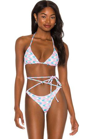 Frankies Bikinis Tia Bikini Top in Pink,White.