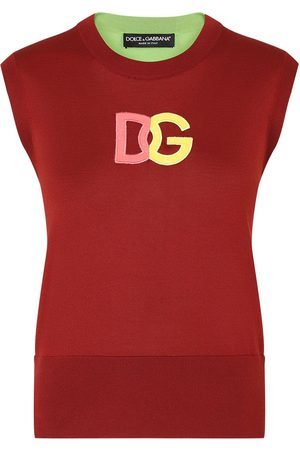 Dolce & Gabbana Women Tank Tops - DG-embroidered two-tone vest