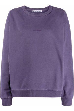 Acne Studios Women Sweatshirts - Logo-print crew neck sweatshirt