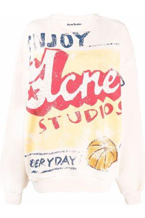 Acne Studios Women Sweatshirts - Oversized seasonal artwork-print sweatshirt - Neutrals