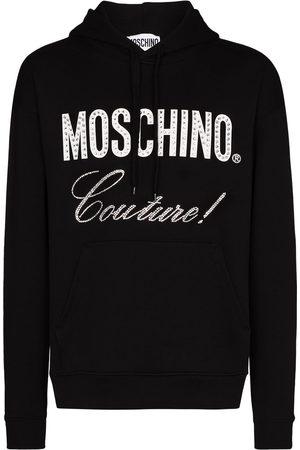 Moschino Men Hoodies - Crystal-embellished logo-print drawstring hoodie