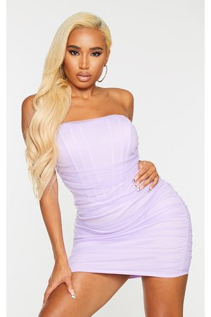 PRETTYLITTLETHING Women Bodycon Dresses - Shape Lilac Mesh Corset Detail Ruched Bodycon Dress