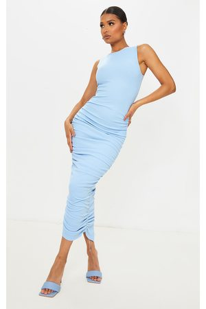 PrettyLittleThing Baby Ribbed Sleeveless Ruched Midaxi Dress