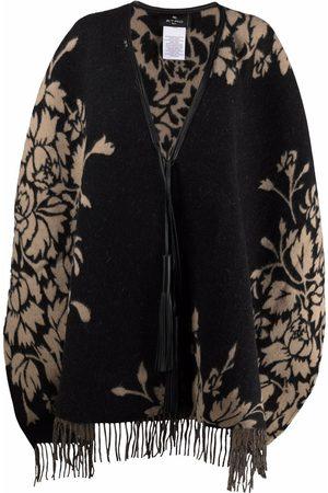 Etro Women Ponchos & Capes - Leaf-pattern fringed cape