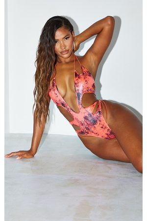 PRETTYLITTLETHING Coral Glitter Snake Cut Out Swimsuit