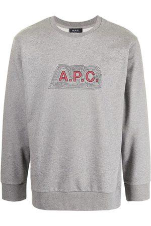 A.P.C. Men Sweatshirts - Logo-print crew neck sweatshirt - Grey