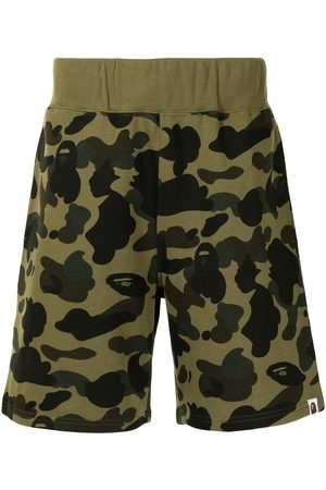 A Bathing Ape Men Sports Shorts - Camouflage-print cotton track shorts