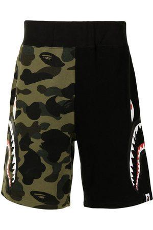 A Bathing Ape Men Sports Shorts - Shark camouflage-print cotton track shorts